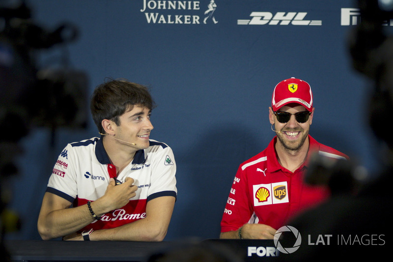 Charles Leclerc, Sauber and Sebastian Vettel, Ferrari in the Press Conference