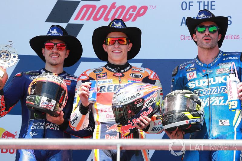 Podio: 1º Marc Márquez, 2º Maverick Viñales, 3º Andrea Iannone