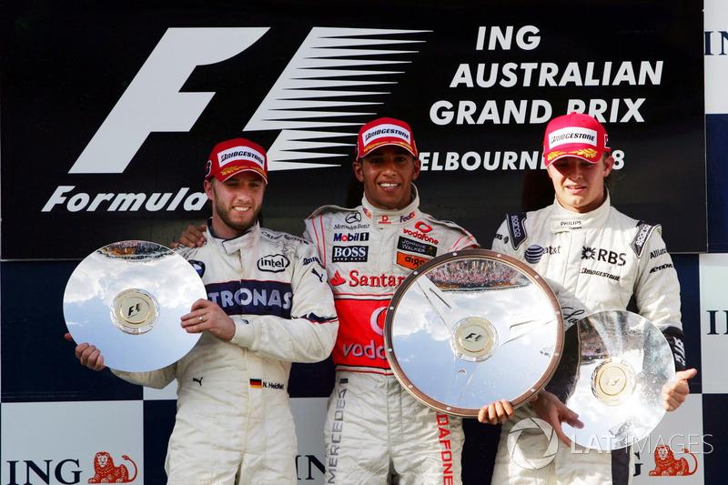 2008: 1. Lewis Hamilton, 2. Nick Heidfeld, 3. Nico Rosberg