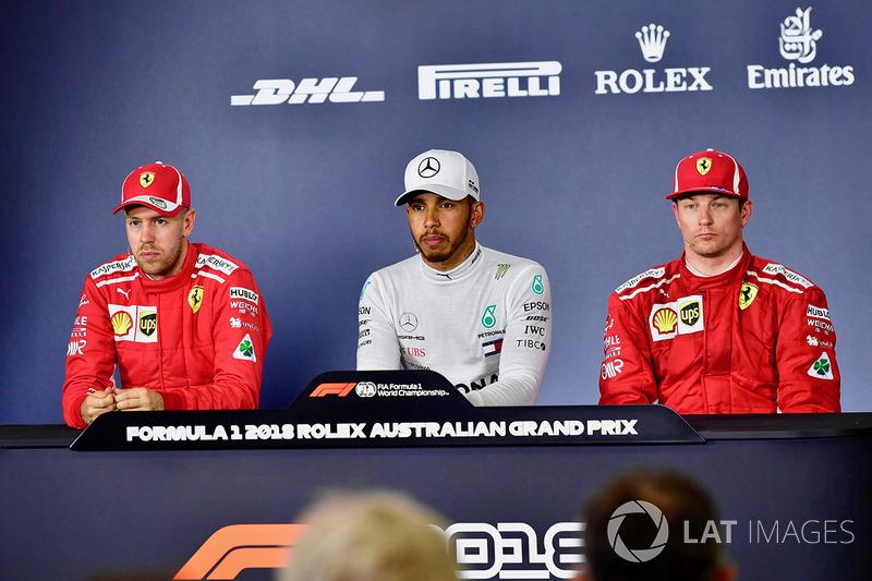 Sebastian Vettel, Ferrari, Lewis Hamilton, Mercedes-AMG F1, Kimi Raikkonen, Ferrari