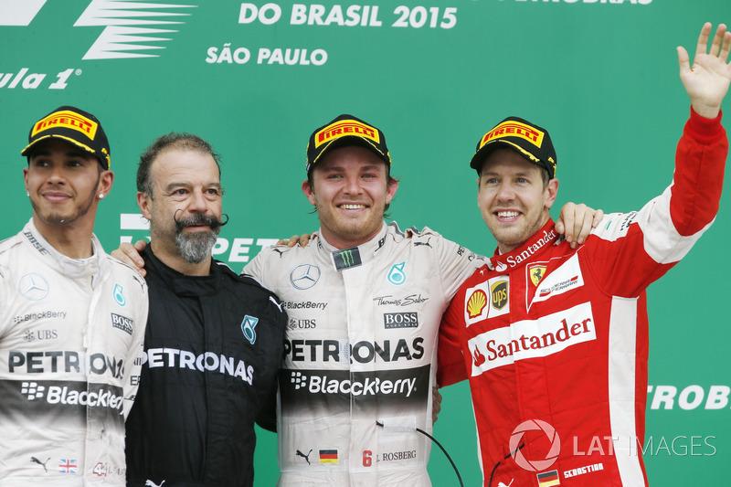 2015 : 1. Nico Rosberg, 2. Lewis Hamilton, 3. Sebastian Vettel