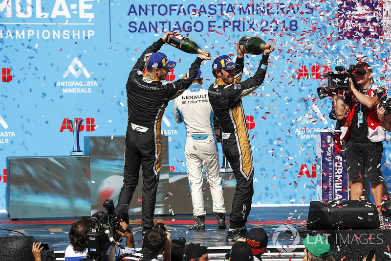Jean-Eric Vergne, Techeetah, Andre Lotterer, Techeetah celebrate on the podium