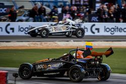 Juan Pablo Montoya and Ryan Hunter-Reay driving the Ariel Atom Cup