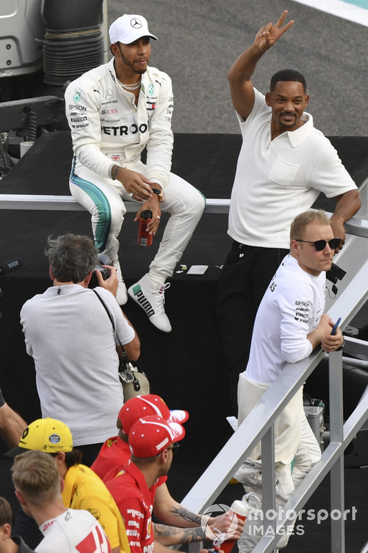 Lewis Hamilton, Mercedes AMG F1, Valtteri Bottas, Mercedes AMG F1 and Will Smith on the drivers parade