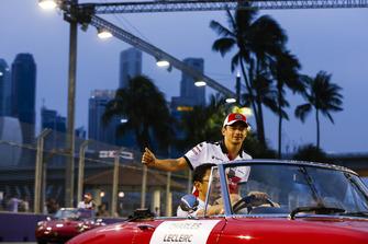 Charles Leclerc, Alfa Romeo Sauber F1 Team, on the drivers' parade