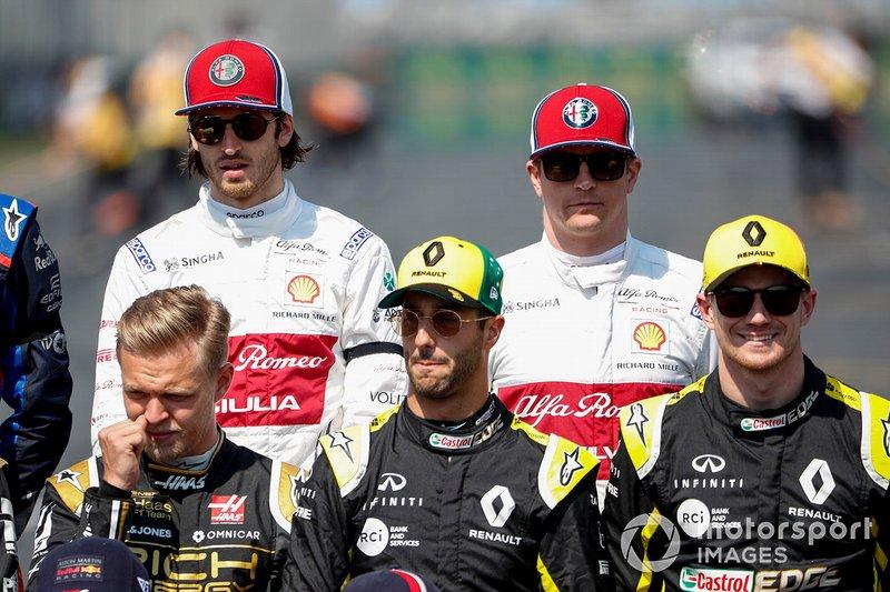 Antonio Giovinazzi, Alfa Romeo Racing ve Kimi Raikkonen, Alfa Romeo Racing ve Kevin Magnussen, Haas F1, Daniel Ricciardo, Renault F1 Team ve Nico Hulkenberg, Renault F1 Team
