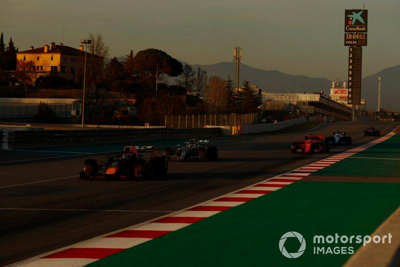 Pierre Gasly, Red Bull Racing RB15, Valtteri Bottas, Mercedes-AMG F1 W10 et Sebastian Vettel, Ferrari SF90