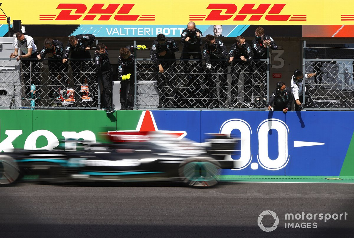 Lewis Hamilton, Mercedes W12, 1st position, takes victory to the delight of his team