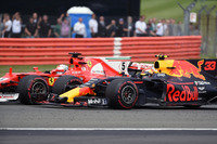 Sebastian Vettel, Ferrari SF70H and Max Verstappen, Red Bull Racing RB13