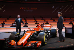 Zak Brown, Executive Director of McLaren Technology Group, talks to presenter Simon Lazenby on stage at the launch of the McLaren MCL32