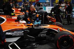 Stoffel Vandoorne, McLaren, and Fernando Alonso, McLaren