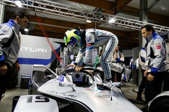 Felipe Massa, Venturi Formula E, climbs into his Venturi VFE05 in the garage