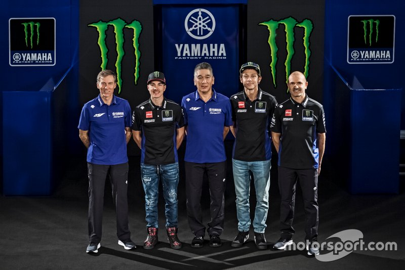 Valentino Rossi, Yamaha Factory Racing, Maverick Vinales, Yamaha Factory Racing, Maio Meregalli, Yamaha Factory Racing team manager, Lin Jarvis, Yamaha Factory Racing Managing Director, Kouichi Tsuji, President of Yamaha Motor Racing