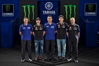 Valentino Rossi, Yamaha Factory Racing, Maverick Vinales, Yamaha Factory Racing, Maio Meregalli, Yamaha Factory Racing team manager, Lin Jarvis, Yamaha Factory Racing Managing Director, Kouichi Tsuji, President of Yamaha Motor Racing
