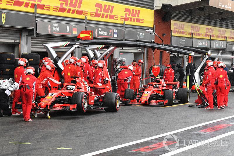 Sebastian Vettel, Ferrari SF71H y Kimi Raikkonen, Ferrari SF71H en Q3