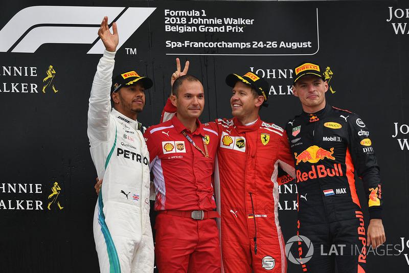 GP de Bélgica: 1º Vettel, 2º Hamilton, 3º Verstappen