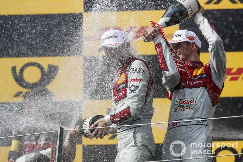 Podium: Race winner René Rast, Audi Sport Team Rosberg and second place Nico Müller, Audi Sport Team Abt Sportsline