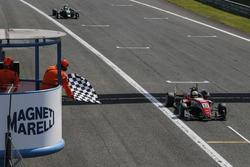 Checkered flag for Callum Ilott, Prema Powerteam, Dallara F317 - Mercedes-Benz