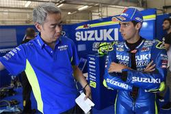 Shinichi Sahara, Team Suzuki MotoGP project leader, Alex Rins, Team Suzuki MotoGP