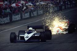 Brabham driver Andrea de Cesaris closely followed by Stefan Johansson, McLaren