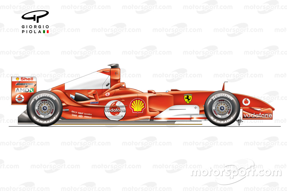 Ferrari F2004 side view