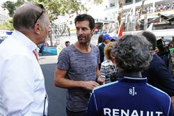Mark Webber with Alain Prost on the grid