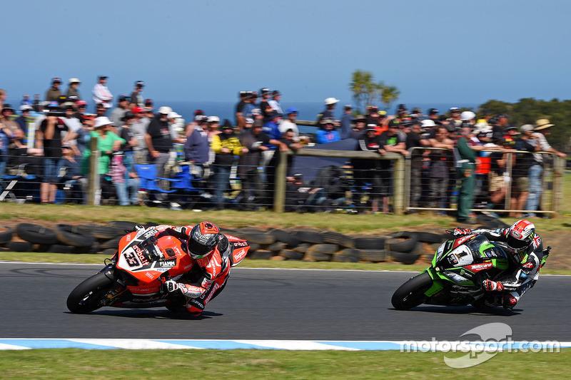 Marco Melandri, Ducati Team; Jonathan Rea, Kawasaki Racing