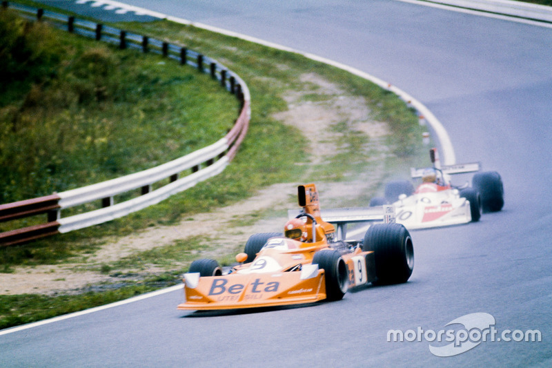 Vittorio Brambilla, March 751 Ford, 1st position, leads Hans-Joachim Stuck, March 751 Ford