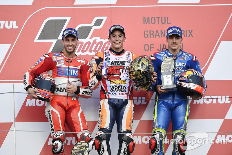 Podio: 1º Marc Márquez, 2º Andrea Dovizioso, 3º Maverick Viñales