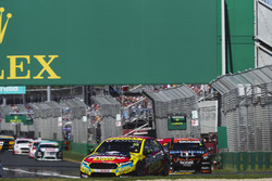 Chaz Mostert, Tickford Racing Ford, leads Scott Pye, Walkinshaw Andretti United Holden