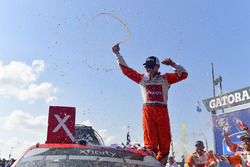 Kyle Larson, Chip Ganassi Racing, Chevrolet Camaro ENEOS celebrates in victory lane after winning