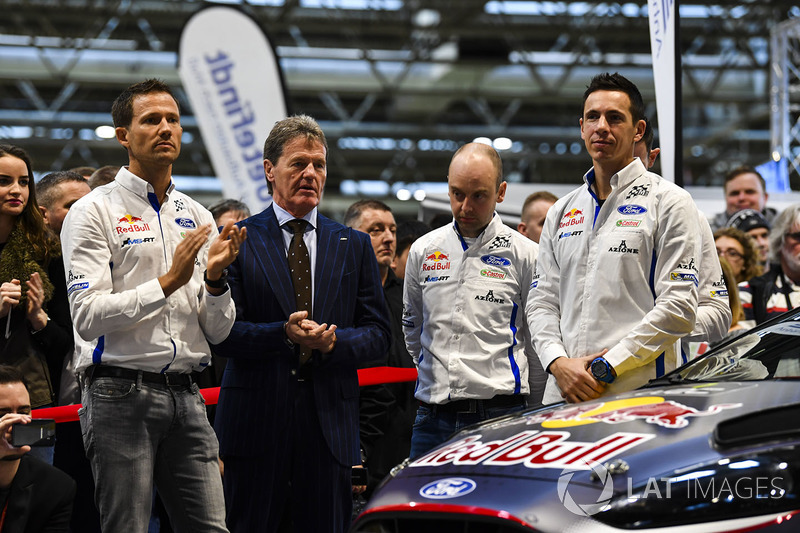 Sébastien Ogier, Malcolm Wilson, Elfyn Evans and co-drivers Julien Ingrassia and Daniel Barritt, M-Sport