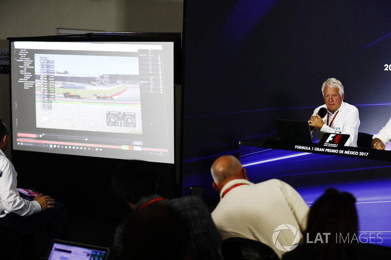 Charlie Whiting, FIA Race Director, holds a press conference about the controversial Max Verstappen, Red Bull Racing, overtake on Kimi Raikkonen, Ferrari, at the previous race in Austin