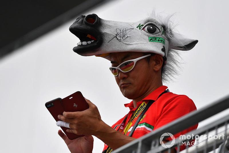 Ferrari fan with horses head hat
