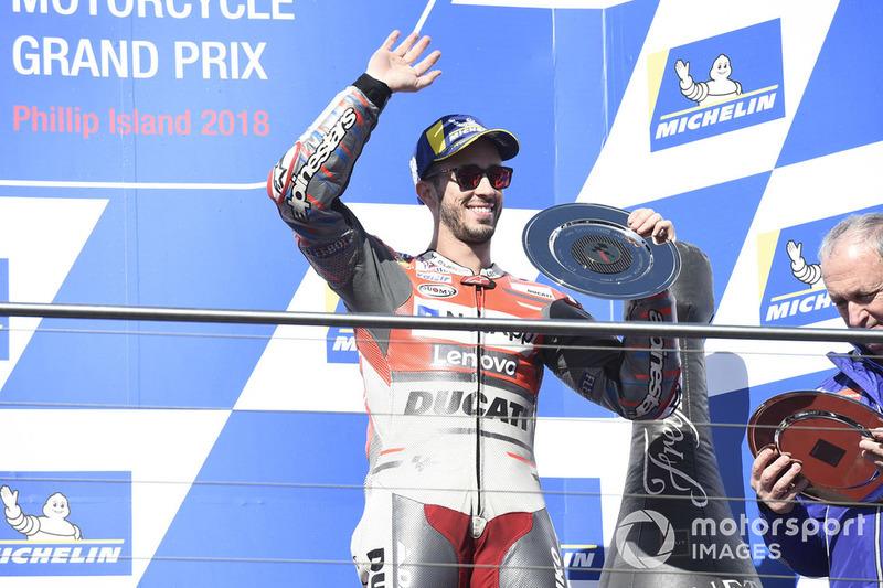 Podio: tercer clasificado Andrea Dovizioso, Ducati Team