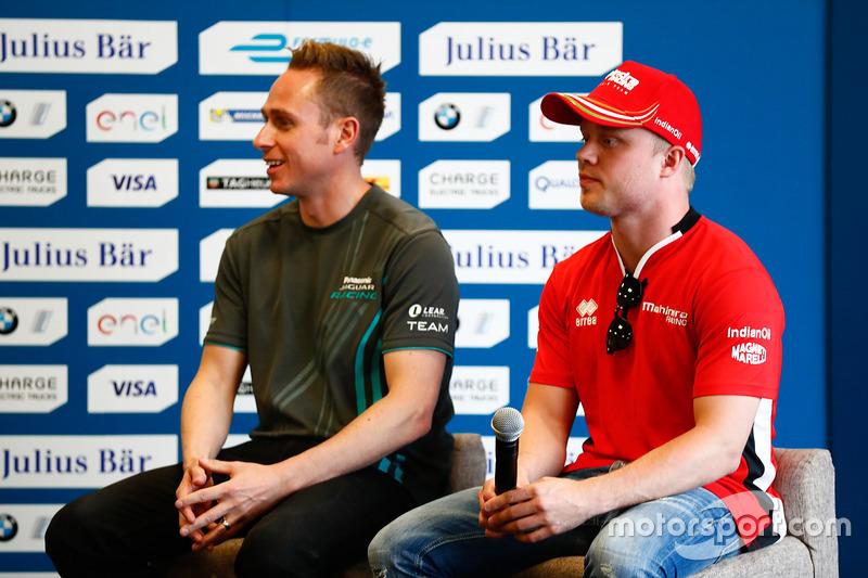 Adam Carroll, Jaguar Racing, and Felix Rosenqvist, Mahindra Racing, in the press conference
