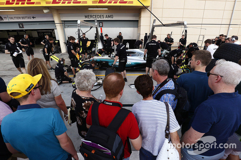 Fans outside Mercedes AMG garage