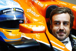 Fernando Alonso, McLaren MCL32, sits in his cockpit