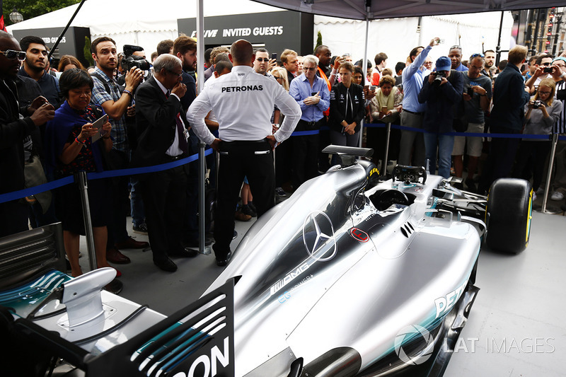 The Mercedes AMG F1 W08 on the teams stand