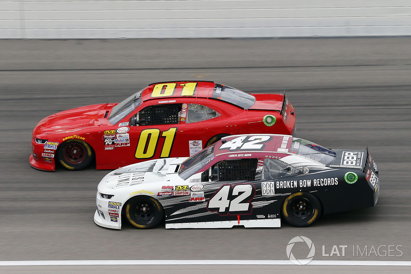 Tyler Reddick, Chip Ganassi Racing Chevrolet, Harrison Rhodes, JD Motorsports Chevrolet