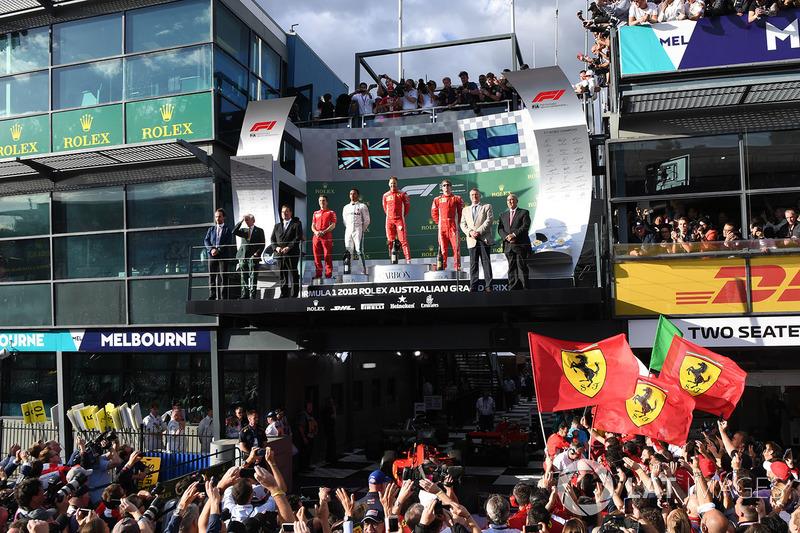 Lewis Hamilton, Mercedes-AMG F1, Sebastian Vettel, Ferrari and Kimi Raikkonen, Ferrari on the podium