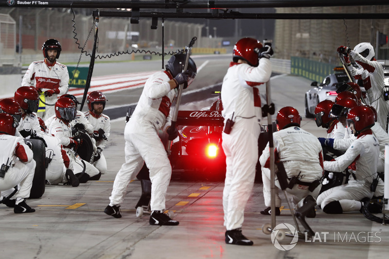Charles Leclerc, Sauber C37 Ferrari, leaves his pit box after a stop