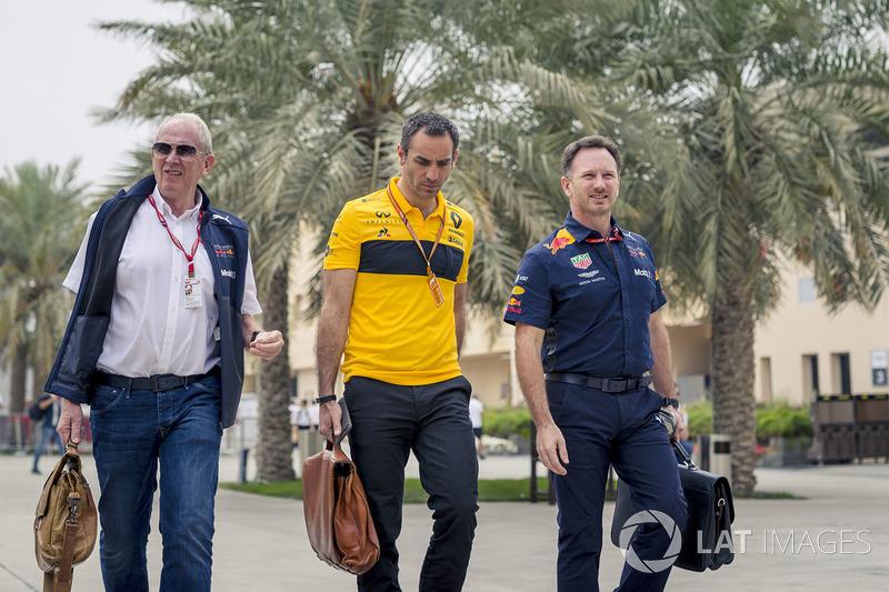 Dr Helmut Marko, Red Bull, Cyril Abiteboul, Renault Sport F1 y Christian Horner, Red Bull Racing