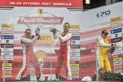 Podium Trofeo Pirelli: Race winner #8 Octane 126 Ferrari 488: Fabio Leimer, second place #1 Octane 126 Ferrari 488: Bjorn Grossmann, third place #92 Stratstone Ferrari Ferrari 488: Sam Smeeth