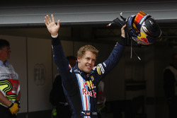 Sebastian Vettel, Red Bull Racing celebrates his pole position