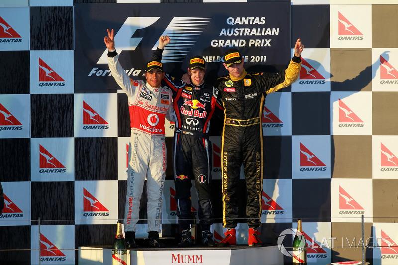 2011: 1. Sebastian Vettel, 2. Lewis Hamilton, 3. Vitaly Petrov