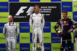 Podio: il vincitore della gara Jenson Button, Brawn Grand Prix, il secondo classificato Rubens Barrichello, Brawn Grand Prix, il terzo classificato Mark Webber, Red Bull Racing