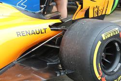 Vue détaillée de la suspension arrière de la McLaren MCL33