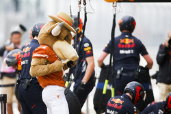 Longhorns mascot in the pit lane with the Red Bull team