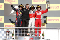 Podium: second place Sebastian Vettel, Red Bull Racing, Martin Whitmarsh, Team Principal, McLaren, race winner Lewis Hamilton, McLaren, third place Fernando Alonso, Ferrari